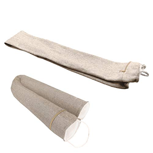 """Unfilled Window Door Draft Stopper, 35"""" Long and Supports 3X More Weight Than Traditional Door Blocker (Max Weight 6LB). Reduce Noise and Energy Saving. (Comes with unfilled fabric only, Beige)"""