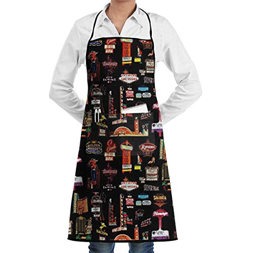 VANKINE Las Vegas Kitchen Apron - Mens and Womens Professional Chef Bib Apron - Adjustable Straps with Pockets