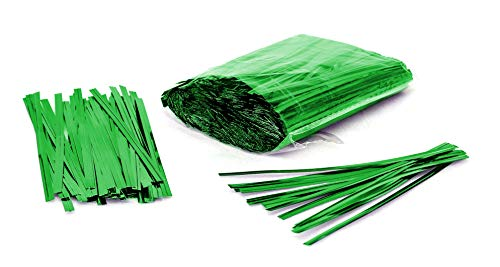 (1000 Pack of Green Twist Ties. 4 Inches Bag Ties by Amiff. Metallic Twist Ties for cellophane Bags, Food and Party Bags. Storage & Organization. Packing & Packaging. for Stores)
