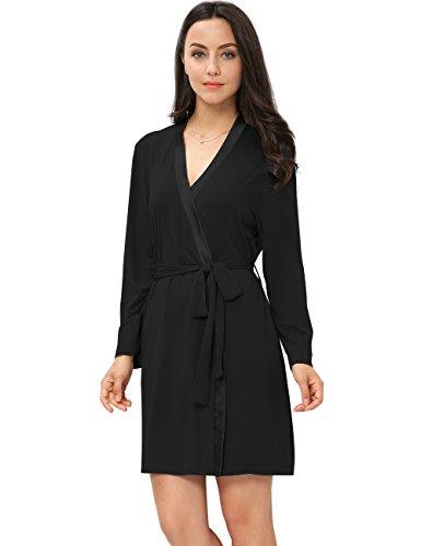 GYS Women's Kimono Robe (Black,XL) - Long Sleeve Bamboo Kimono