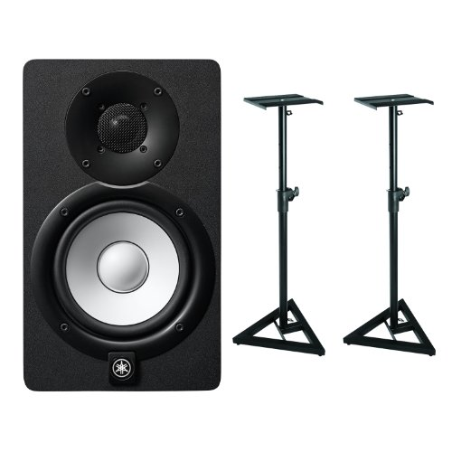 Yamaha HS5 Powered Studio Monitor with OnStage SMS6000 Adjustable Studio Monitor Stand