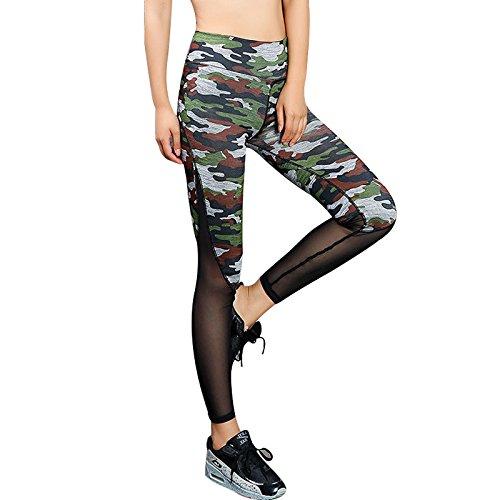 Xuanytp Yogahosen Frauen Leggings Fitness Camouflage Workout Sportliche Leggings Für Frauen Mesh Patchwork Hosen Atmungsaktive Hosen