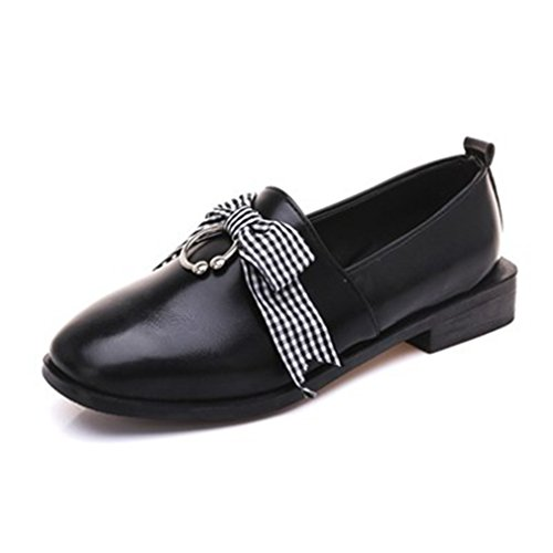 GIY Women's Classic Penny Loafers Flat Round Toe Slip-On Bowknot Casual Dress Loafer Oxford Shoes