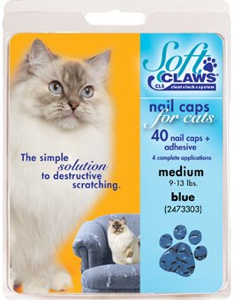 - Feline Soft Claws Cat Nail Caps Take-Home Kit, Large, Blue