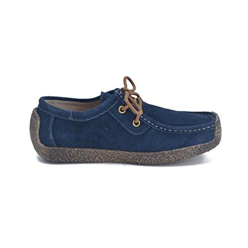 Susanny Femmes Oxford Chaussures À Lacets Escargot Chaussures De Marche En Daim Casual Chaussures Espadrilles Plates Bleu Foncé