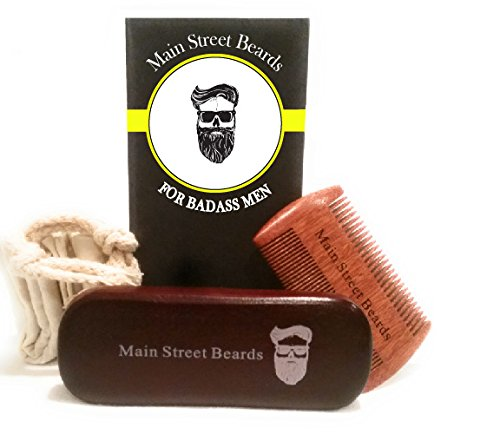 Beard Grooming Kit For Men Care -Beard Brush, Beard Comb Handmade Wooden Comb and Natural Boar Bristle Beard Brush set for Men Beard & Mustache