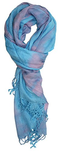 Ted and Jack - Boho Lightweight Tie Dye Scarf in Sky Blue (Dye Sky Tie Blue)
