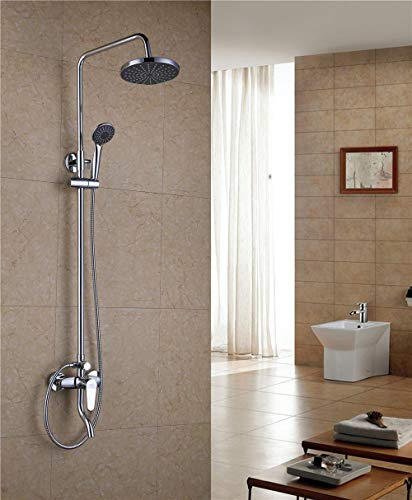 (Wall Mount Bathroom Shower Faucet Mixer Taps Dual Handle with Hand Held Shower Chrome Finish, white5 )