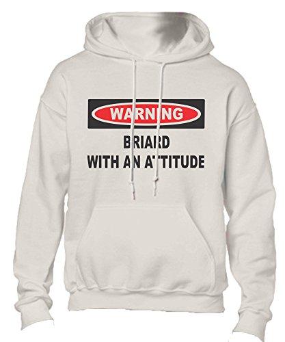 Briard With An Attitude Adult Fleece Hoodie Sweatshirt White X-Large ()