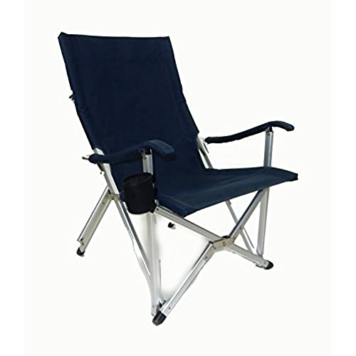 World Outdoor Products NEW RUSTPROOF DESIGN Luxury NAVY BLUE Lightweight ALUMINUM Folding LAWN CHAIR Featuring WashableMildew Resistant Polyester Fabric