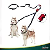 Free Paws Double Dog Leash for Running, Hands-Free Leash for 2 Dogs with Waist Leash Dual Bungees Padded Handles Waste Bag, 150Lbs Fit Medium or Large Dogs