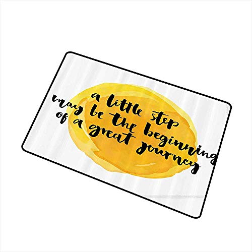 Front Door Mat Large Outdoor Indoor Lifestyle Decor A Little Step May be The Beginning of a Great Journey Quote Print W35 xL47 Anti-Fading Earth Yellow Black