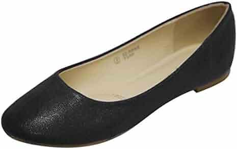 72d6ec27a1b38 Bella Marie Women's Classic Sparkle Shimmer Glitter Closed Toe Slip on  Ballet Flat
