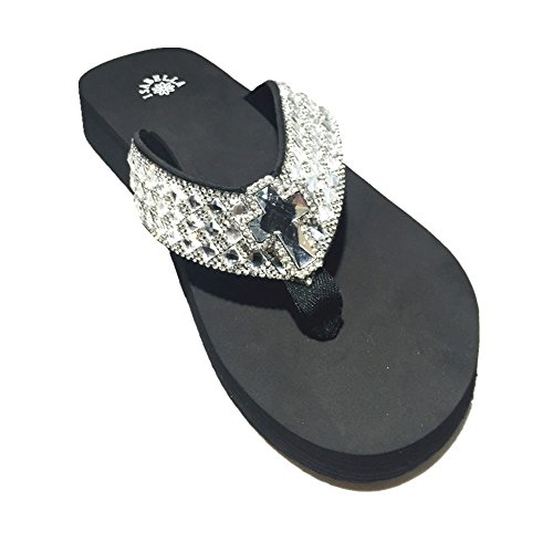 Premium Western Rhinestone Cross Concho Blingbling Flip Flops in 4 Sizes S053 (Meduim) -