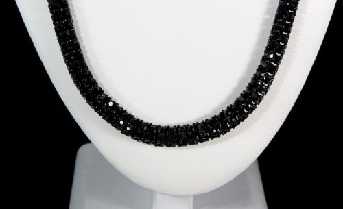 Iced Out Blackout 2 ROW Simulated Diamond Chain Necklace 14K Finish - 36