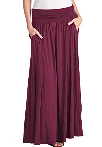 TRENDY UNITED Women's High Waist Fold Over Shirring Maxi Skirt with Pockets ,Burgundy-maxi,X-Large