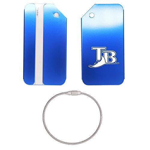 (MLB Tampa Bay Rays LOGO 3 STAINLESS STEEL - ENGRAVED LUGGAGE TAG (ROYAL BLUE) - UNITED STATES MILITARY STANDARD - FOR ANY TYPE OF LUGGAGE, SUITCASES, GYM BAGS, BRIEFCASES, GOLF BAGS)