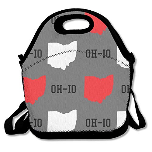 Lightweight Portable Lunch Bag Handbag, Reusable Neoprene Insulated Lunch Box for Adults Kids Nurse Teacher School Office Work Travel Picnic - New Oh-io State Map Gray ()