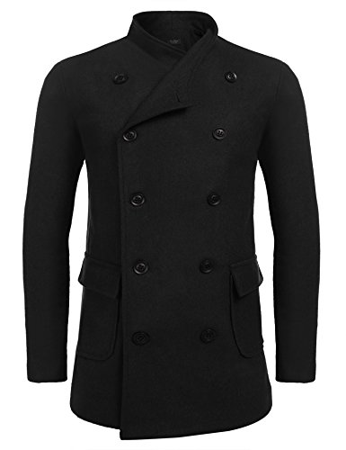 Zuckerfan Winter Mens Stylish Fashion Classic Wool Blend Double Breasted Pea Coat(X-Large,Black (Wool Peacoat Jacket)