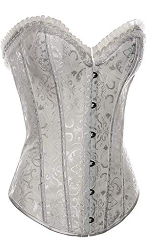 Womens Vintage Flower Tapestry Steel Boned Corset(White-Small)