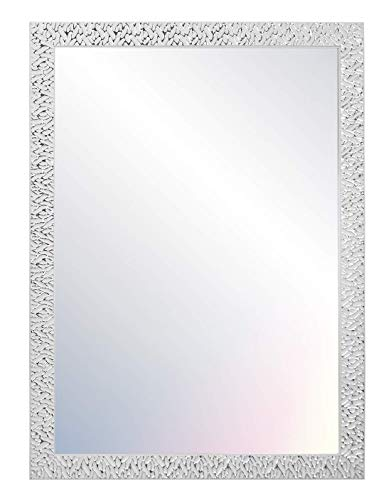 Chely Intermarket, Espejo de Pared Cuerpo Entero 50x70cm (Marco Exterior58x78cm) MOD-156 (Blanco/Raya Plateado) Forma Rectangular | Decoracion de salon o recibidor | Acabado Elegante (156-50x70-4,20)