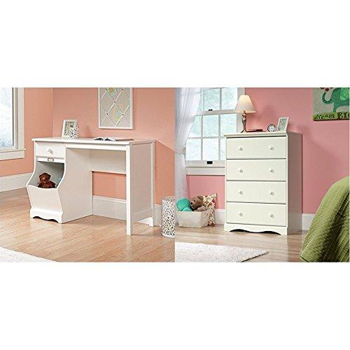 Sauder Pogo Desk for Children, Soft White Finish + Sauder Pogo 4 Drawer Chest In Soft White with Four Drawers_Bundle by