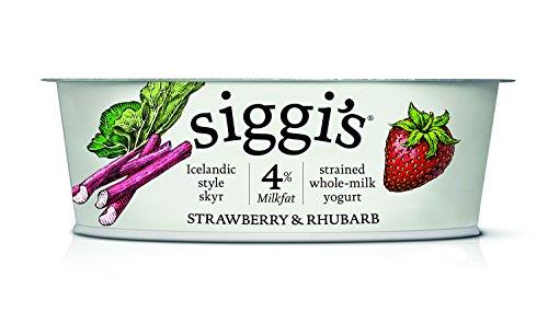 Siggi's Icelandic Milk and Skyr Whole Milk Yoghurt, Strawberry Rhubarb, 4.4 oz (Whole Yogurt Milk)