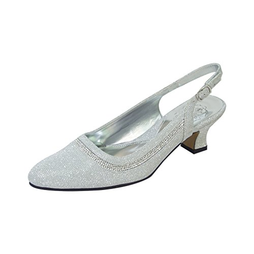 Women Floral Dress Affairs Wide Slingback FIC amp; Elegant Measurement for Or Priya Size Silver Guide Pump Width ccW4EF