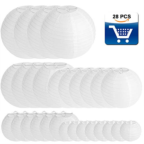 "28 Packs White Paper Lanterns Decoration for Weddings, Birthdays, Parties and Events - Assorted Round Sizes (4"",6"",8"",10"",12"")"