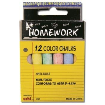Bulk Buys Assorted Colored Chalk - 3 in. Sticks - 12 Pack Boxed - Case of 96