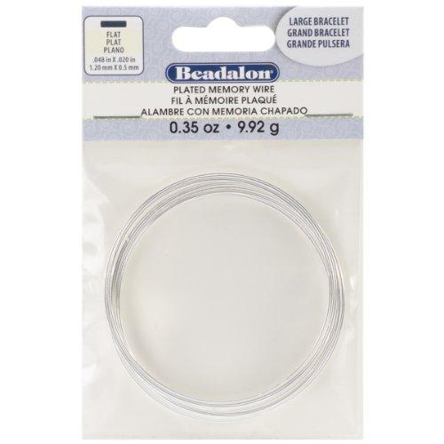 Memory Designs Bracelet Wire (Beadalon 347B-070 Large Bracelet Flat Memory Wire for Beading, Silver Plate)