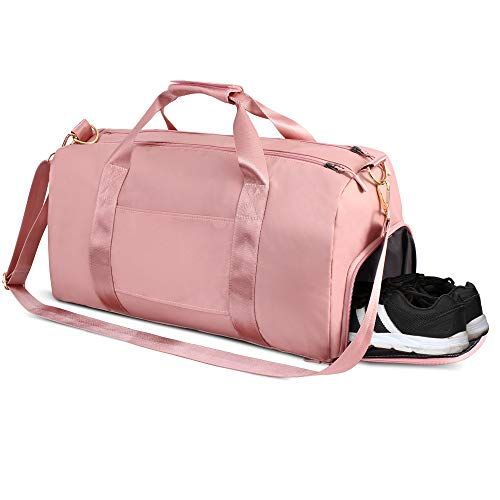 - Sports Gym Bag, Travel Duffel Bag Tote Swim Bag with Wet Pocket and Shoes Compartment for for Women and Men (Pink)