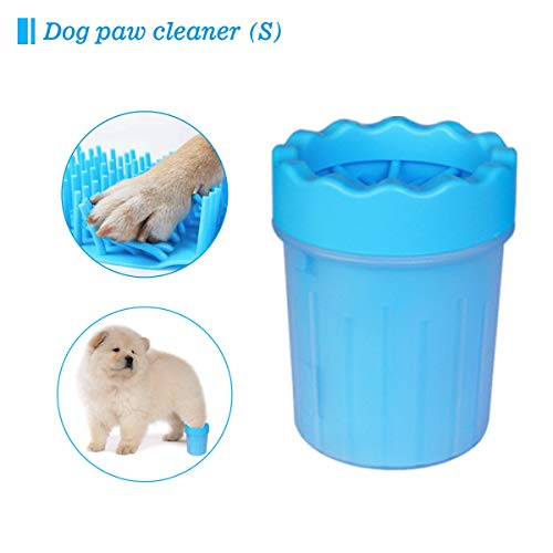 QITONG Portable Dog Paw Cleaner,Pet Paw Cleaner Cup Paw Puppy Washer Brush Cup Dog Feet Washer with Comfortable Silicone Bristles for Dogs Small,Puppy,Cats Grooming with Muddy Paw(Blue-S) (Blue)