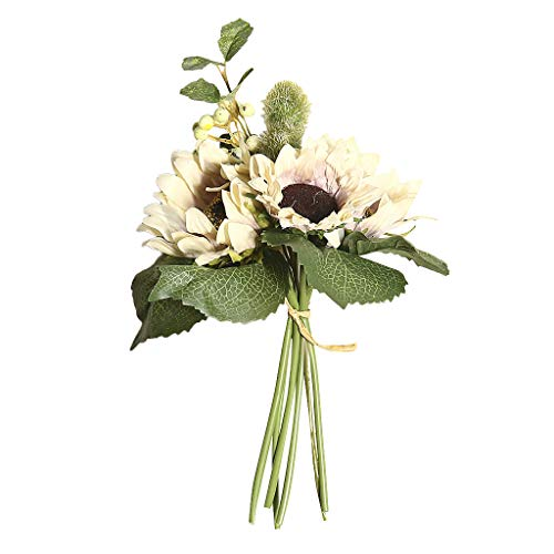 Orcbee  _Artificial Silk Flower Bouquet Home Floral Decor 1 Bunch Beauty Fake Sunflower (White) ()