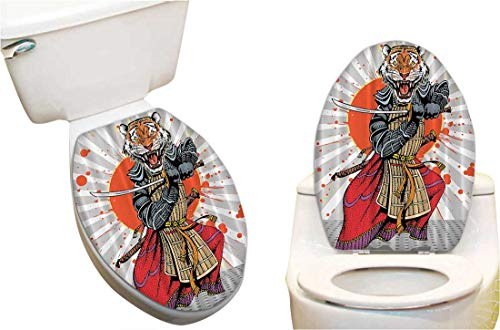 SeptSonne Toilet Cover Sticker Japanese Masculine Tiger Leopard Samurai Sword Fighter Japan Style Creative Toilet Cover Stickers ()