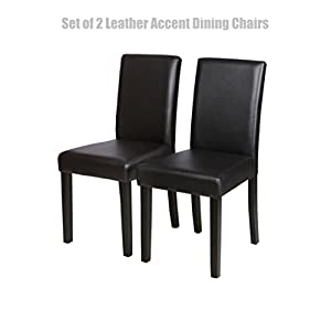 Modern Design Dining Chairs Sturdy Wooden Frame Waterproof Half PU Leather Seat Home Office Furniture Set of 2 Black #1448a