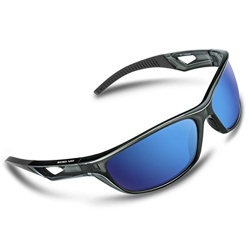 RIVBOS Polarized Sports Sunglasses Driving Sun Glasses For Men Women TR 90 Unbreakable Frame For Cycling Baseball Running 831(Transparent Grey Ice Blue Lens) (Plastic Driving Light Kit)