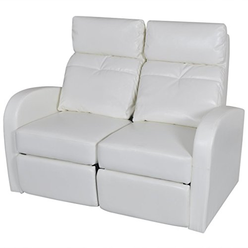 VidaXL Artificial Leather Home Cinema Recliner Reclining Sofa 2-seat White