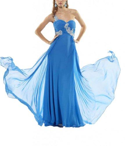 Linie Blau Pinsel Chiffon Abendkleider 1 Aermellos Schleppe Schulter Kleidungen Dearta Damen Etui HxPBwPqf