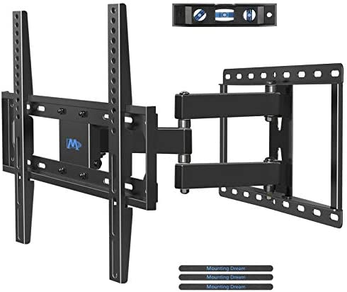 Mounting Dream TV Wall Mounts TV Bracket for Most 32-55 Inch Flat Screen TV Mount Bracket, Full Motion TV Wall Mount with Swivel Articulating Dual Arms, Max VESA 400x400mm, 66 LBS Loading MD2378