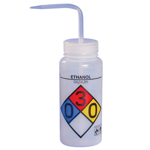 Bel-Art Safety-Labeled 4-Color Ethanol Wide-Mouth Wash Bottles; 500ml (16oz), Polyethylene w/Natural Polypropylene Cap (Pack of 4) (F11716-0019) by SP Scienceware