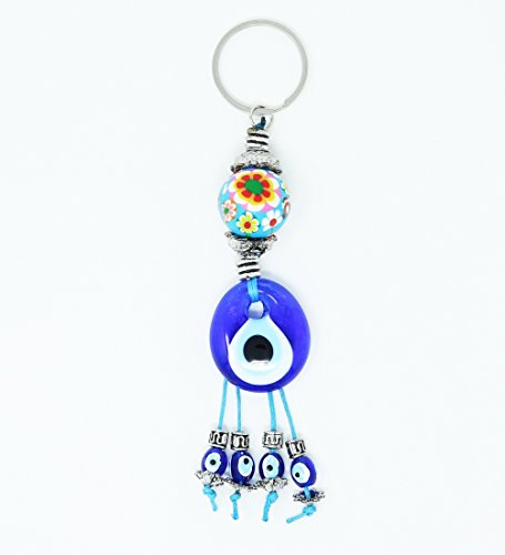 Blue Evil Eye Key Chain for Women for Men - Key Ring - Bad Eye Protection - Religious Charm - Congratulatory Gift - Hamsa - Unisex KeyChain & Rings (Blue Origami)
