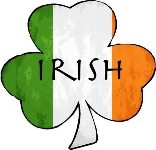 (ION Graphics Irish Flag Decal - Irish Flag with Irish Shamrock Vinyl Sticker - Irish Shamrock Bumper Sticker - Shamrock Decal - Perfect Irish Heritage Gift - Made in The USA Size: 4 x 3.8 inch inch)