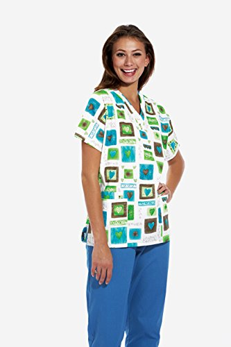 Cherokee Scrub H.Q Women's Discount V-Neck 2-Pocket Tunic Style Heart Print Scrub Top XXX-Large Print