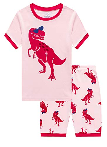 (Family Feeling Little Girls Dinosaur Pajamas Short Sets 100% Cotton Toddler Kid)