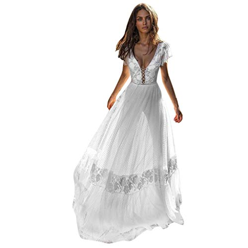 QIQIU Sexy Women's Cross V-Neck Elegant Wedding Backles Slim Hollow Lace Short Sleeve Long Party Evening Formal Dress White from QIQIU Dresses