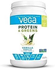 Vega Protein & Greens Vanilla (21 Servings, 1.35 lb 614g) - Plant Based Protein Powder, Keto-Friendly, Gluten Free, Non Dairy, Vegan, Non Soy, Non GMO