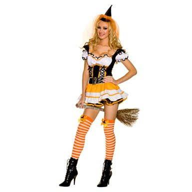 Music Legs Wicked Candy Corn Witch Costume Orange/Black/White (Adult Magical Witch Costumes)