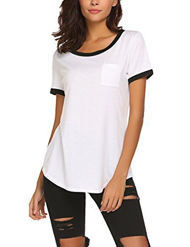 Plus Size Summer Tshirts For Women Cotton Short Sleeve Tee Shirts V Neck XXL -