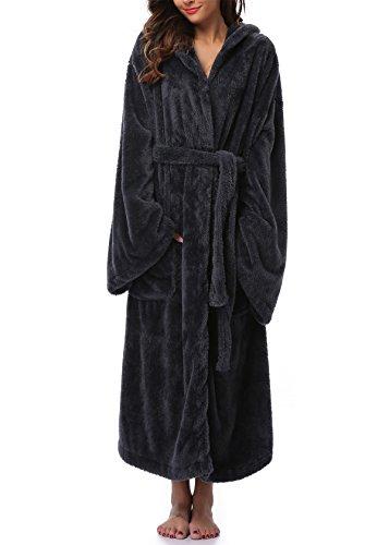VIKEY Women's Plush Coral Velvet Robe Cozy Long Hooded Bathrobe Nightgown Black M/L